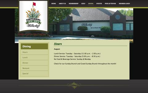 Screenshot of Hours Page hillcrest-gcc.com - Hours | Hillcrest Golf & Country Club - captured Oct. 3, 2014