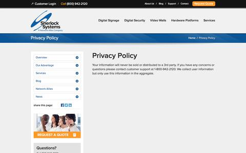 Screenshot of Privacy Page sherlocksystems.com - Privacy Policy - captured Oct. 26, 2014