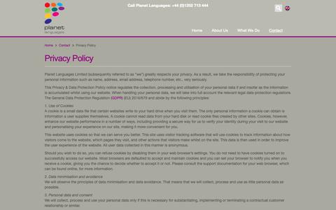 Screenshot of Privacy Page planetlanguages.com - Privacy Policy - Planet Languages - captured Sept. 28, 2018