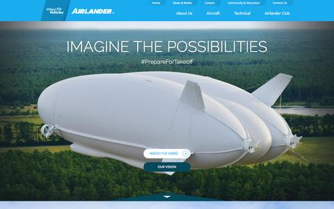 Screenshot of Home Page hybridairvehicles.com - Hybrid Air Vehicles - Home - captured Feb. 2, 2016