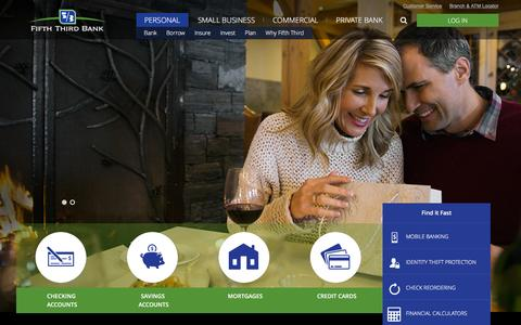 Screenshot of Home Page 53.com - Personal Banking Services | Fifth Third Bank - captured Dec. 28, 2015