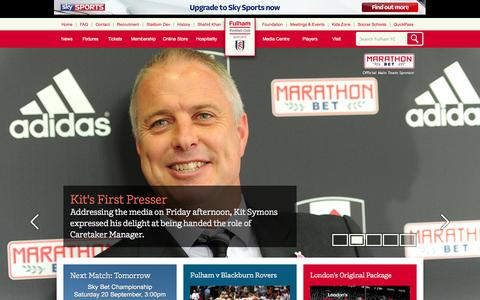 Screenshot of Home Page fulhamfc.com - Fulham Football Club - captured Sept. 19, 2014