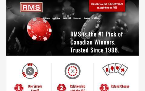 Screenshot of Home Page refundmanagement.com - US Tax Refund | Casino Tax Refund | Refund Management Services | RMS - captured Oct. 20, 2018