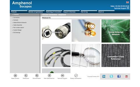 Screenshot of Products Page amphenol-socapex.com - Circular Connectors - Amphenol - captured July 25, 2016