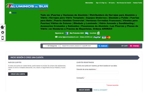 Screenshot of Login Page aluminiosdelsurhn.com - Puertas para Baño Acceso del cliente ALS - captured Oct. 4, 2014