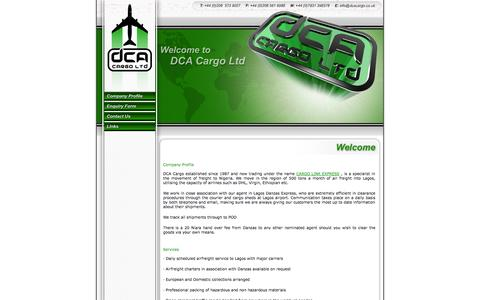 Screenshot of Home Page dcacargo.co.uk - Air Freight to Nigeria, Africa  - DCA Cargo - the only solution by air or sea - daily services - captured Oct. 5, 2014