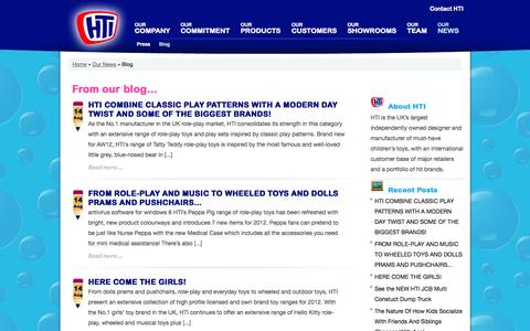 Screenshot of Blog htigroup.co.uk - | Blog | Our News | Children's Toys Manufacturer | Toy Design | Toy Distributors - HTI - captured Sept. 26, 2014