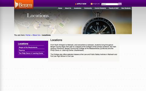 Screenshot of Locations Page bergen.edu - Locations   Bergen Community College - captured Aug. 22, 2016