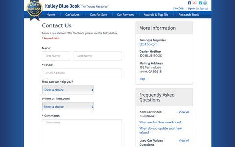 Screenshot of Contact Page kbb.com - Contact Us - Kelley Blue Book - captured Dec. 9, 2016