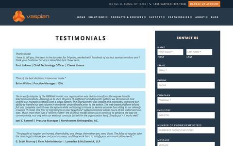 Screenshot of Testimonials Page vaspian.com - VoIP Phone Service Testimonials | Vaspian - captured Dec. 18, 2016