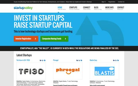 Screenshot of Home Page startupvalley.com - Equity Crowdfunding Platform for Start-ups | StartupValley - captured Sept. 19, 2014