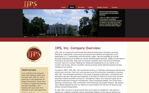 Screenshot of About Page jjpsconstruction.com - JJPS  Environmental and General Construction Company Overview - captured Oct. 3, 2014