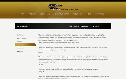 Screenshot of Testimonials Page gametimesales.com - Testimonials –  GameTime Sales - captured Oct. 22, 2014