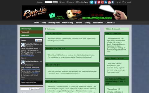 Screenshot of Testimonials Page paklitegear.com - Pak-Lite's Official Website - Testimonials - captured Oct. 28, 2014