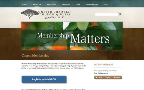 Screenshot of Signup Page uccdubai.com - The United Christian Church of Dubai > Church Membership - captured Feb. 25, 2018