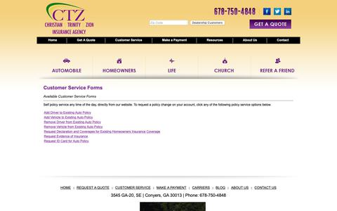 Screenshot of Support Page ctzagency.com - Customer Service Forms - captured Nov. 10, 2018
