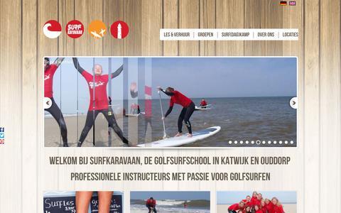 Screenshot of Home Page surfkaravaan.nl - Surfles bij Surfschool SurfKaravaan | Katwijk en Ouddorp - captured Sept. 21, 2018
