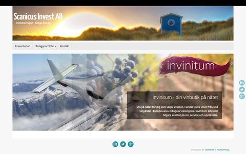Screenshot of Home Page scanicus.se - Scanicus Invest – Investeringar i start-ups i Öresundsregionen | - captured Nov. 19, 2016