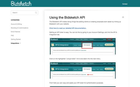 Screenshot of bidsketch.com - Using the Bidsketch API - Bidsketch Knowledge Base - captured March 19, 2016