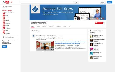 Screenshot of YouTube Page youtube.com - Sellers Commerce  - YouTube - captured Oct. 29, 2014