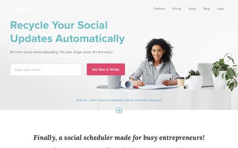 Screenshot of Home Page meetedgar.com - Meet Edgar | The Social Media Scheduling Tool That Manages Itself - captured Dec. 7, 2017