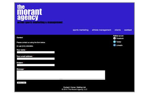 Screenshot of Contact Page themorantagency.com - Contact | www.themorantagency.com - captured Oct. 9, 2014