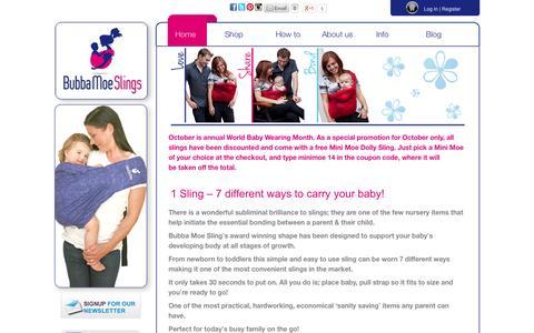 Screenshot of Home Page bubbamoe.com.au - Award Winning Baby Slings | Bubba Moe Slings - captured Oct. 5, 2014