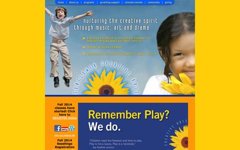 Screenshot of Home Page sunflowercreativearts.org - Sunflower Creative Arts - Celebrating 20 years of empowering families through play, nature and the arts - captured Sept. 30, 2014