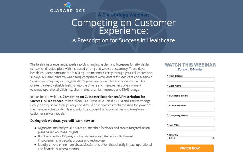 Webinar: Competing on Customer Experience: A Prescription for Success in Healthcare