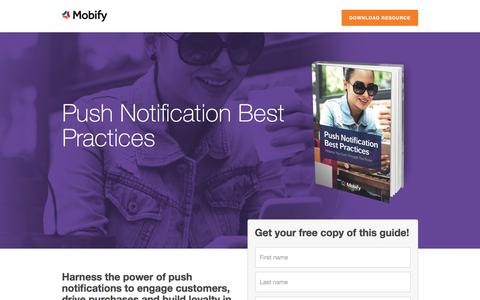 Screenshot of Landing Page mobify.com - Push Notification Best Practices - captured Oct. 20, 2016