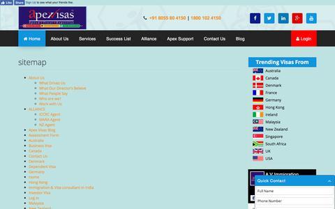 Screenshot of Site Map Page apexvisas.com - sitemap | apexvisas.com - captured Aug. 27, 2017