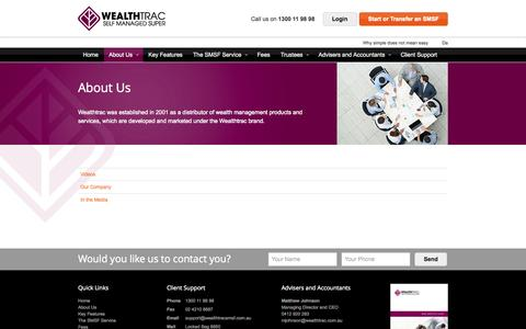 Screenshot of About Page wealthtracsmsf.com.au - About Us - Wealthtrac Self Managed Super Fund - SMSF - captured Sept. 26, 2014