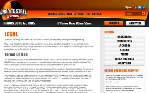 Screenshot of Terms Page granitestategames.org - Legal Terms Of Use | Granite State Games - captured Sept. 30, 2014