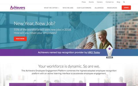 Screenshot of Home Page achievers.com - Employee Rewards and Recognition Programs | Cloud-based Employee Success Platform Software | Achievers - captured Jan. 27, 2018