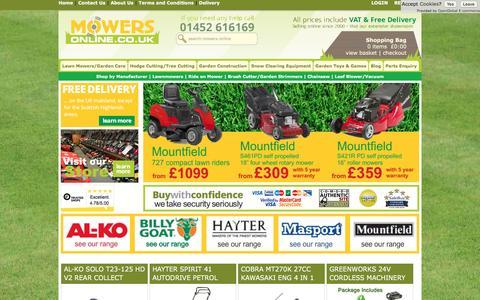 Screenshot of Home Page mowers-online.co.uk - Mowers, Lawnmowers, Lawn Mowers, Garden Machinery from Cheltenham Mowers - captured Sept. 27, 2016