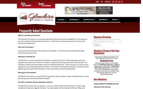 Screenshot of FAQ Page glendora-chamber.org - Glendora Chamber of Commerce - captured Jan. 29, 2016