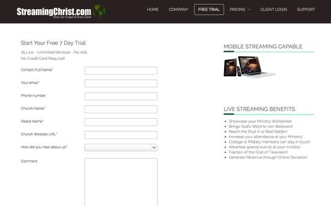 Screenshot of Trial Page streamingchrist.com - Free Trial - captured Oct. 7, 2014