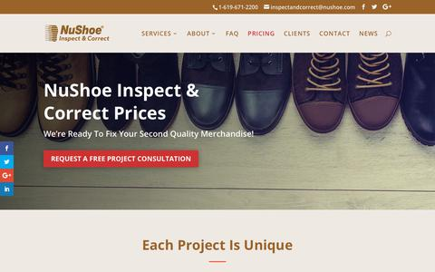Screenshot of Pricing Page nushoeinspectandcorrect.com - PRICING - NuShoe Inspect & Correct - captured Sept. 26, 2018