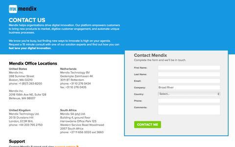 Screenshot of Contact Page Landing Page mendix.com - Contact Mendix - captured March 17, 2016