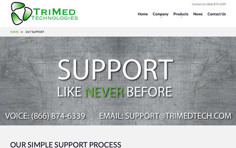 Screenshot of Support Page trimedtech.com - 24/7 Support - captured Oct. 20, 2018