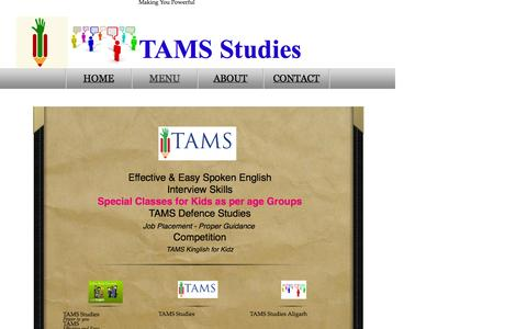 Screenshot of Menu Page tamsstudies.in - MENU - captured Oct. 26, 2014