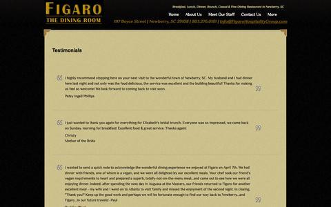 Screenshot of Testimonials Page figarohospitalitygroup.com - Testimonials - captured Oct. 5, 2014