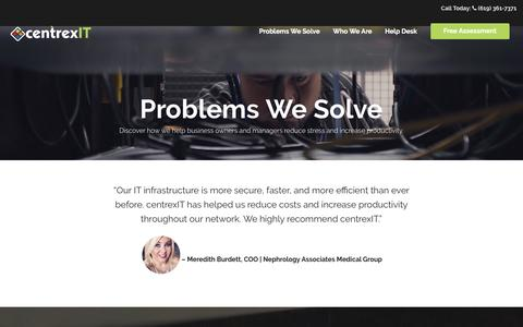 Screenshot of centrexit.com - Problems We Solve - captured April 13, 2017