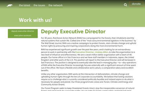Screenshot of Jobs Page ran.org - Jobs - Rainforest Action Network - captured June 28, 2016