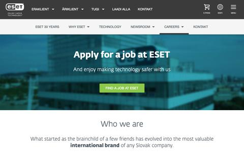 Screenshot of Jobs Page eset.com - Career | ESET - captured Nov. 24, 2018