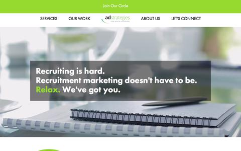 Screenshot of Home Page adsrecruit.com - Recruitment Marketing Services | Ad Strategies - captured Oct. 7, 2017