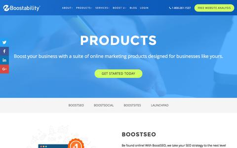 Screenshot of Products Page boostability.com - Online Marketing Products - captured March 30, 2016