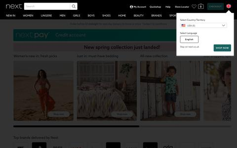 Screenshot of Home Page next.co.uk - Next Official Site: Shop for Clothes, Shoes, Electricals, Homeware & More - captured April 17, 2019