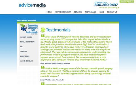 Screenshot of Testimonials Page advicemedia.com - Testimonials   Advice Media   Success - captured Sept. 19, 2014