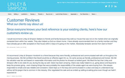 Screenshot of Testimonials Page linleyandsimpson.co.uk - Customer Reviews | Letting Agents - Linley & Simpson, Leeds, Yorkshire » Linley & Simpson - captured July 18, 2018